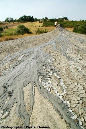 Vue générale du volcan de boue n°1 et de sa coulée principale Sud, Nirano (Italie)