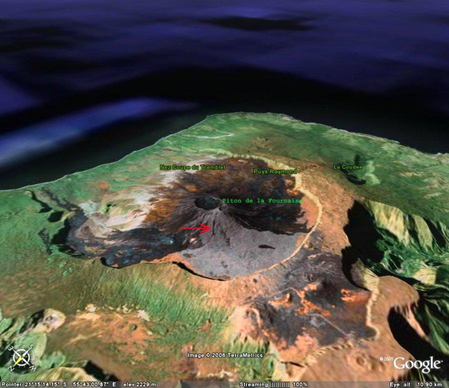 Vue générale Google Earth du massif du Piton de la Fournaise