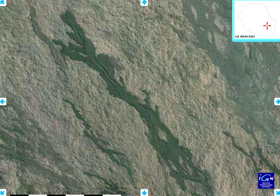 """Vue Géoportail haute résolution de la même coulée. Les """"moraines"""" sont parfaitement visibles."""