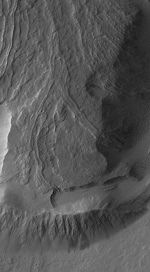 Coulées à levées sur un flanc d'Olympus Mons (Mars)