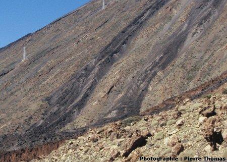 Vue détaillée de 2 coulées du flanc SE du Teide (Canaries) montrant de très belles levées