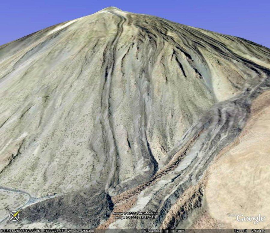 Vue détaillée Google Earth du flanc SE du Teide