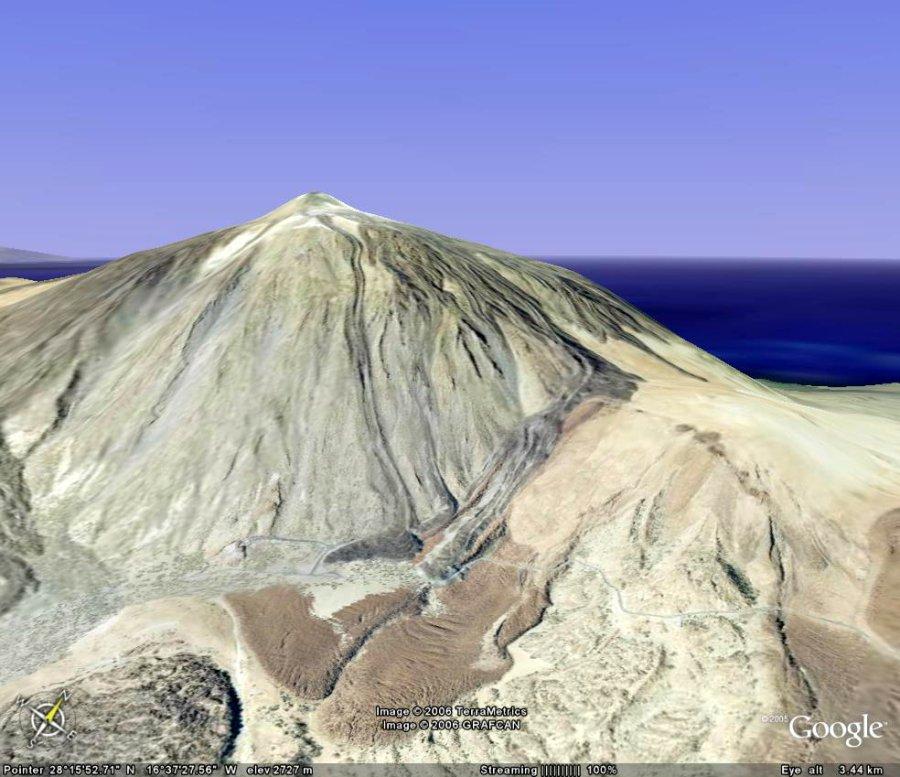 Vue générale Google Earth du flanc SE du Teide