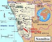 Région où l'on trouve des météorites dites «Gibbéon»