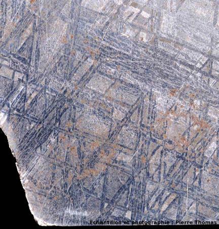 Angle inférieur gauche de la section polie de la figure précédente, montrant le détail des figures de Widmanstätten