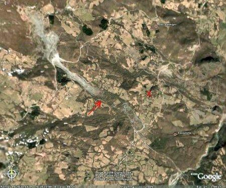 Vue générale Google Earth du glissement de terrain de Il Sasso - Sassatella (Italie)