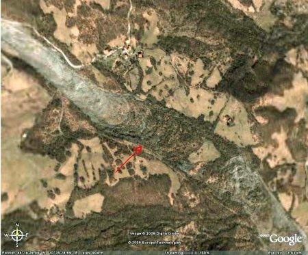 Vue verticale Google Earth du glissement de terrain de Il Sasso - Sassatella (Italie)