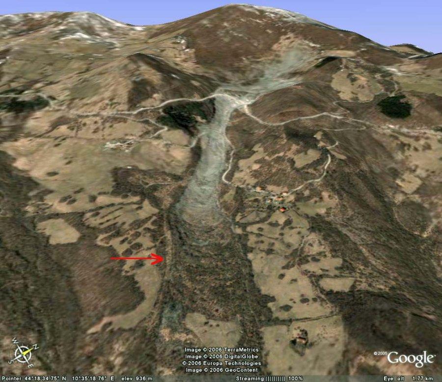 Vue oblique Google Earth du glissement de Il Sasso - Sassatella (Italie)