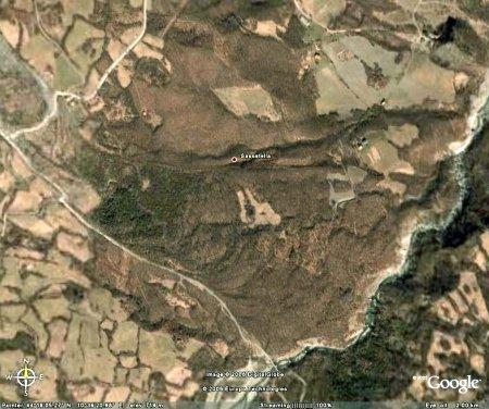 Vue verticale Google Earth de l'extrémité du glissement de terrain de Il Sasso - Sassatella (Italie)