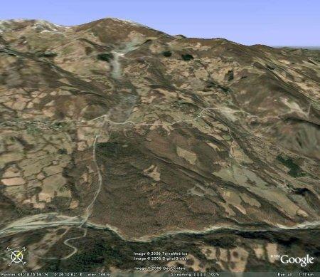 Vue oblique Google Earth de l'extrémité du glissement de terrain de Il Sasso - Sassatella (Italie)