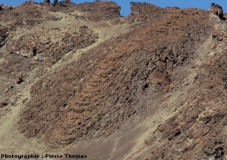 Vue de rides de progression courbes: coulée du flanc SE du Teide (Canaries)