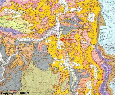 Extrait de la carte BRGM 1/50 000 de Tuchan (8 x 6 km)