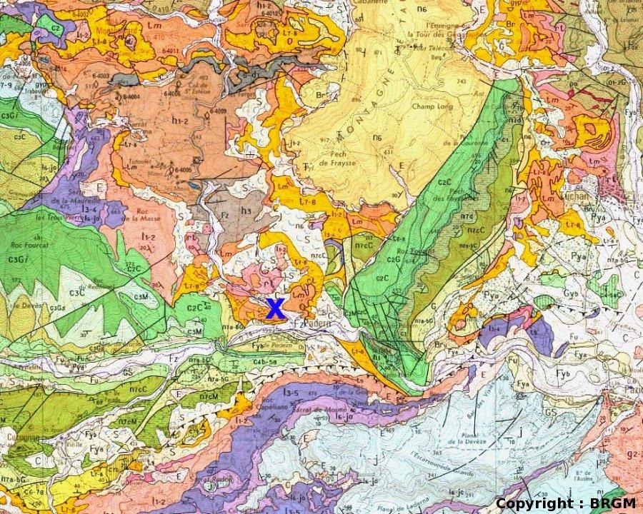 Extrait de la carte géologique de Tuchan 1/50 000
