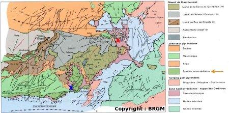 Schéma structural de la région, extrait de la carte BRGM de Tuchan 1/50 000