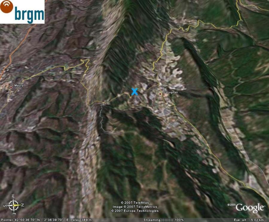 Vue Google Earth oblique du même secteur, Cucugnan (11)