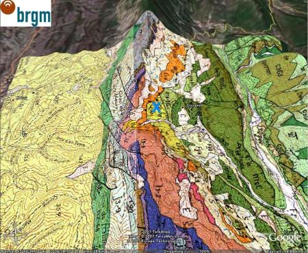 Carte géologique «oblique» du même secteur, Cucugnan (11)