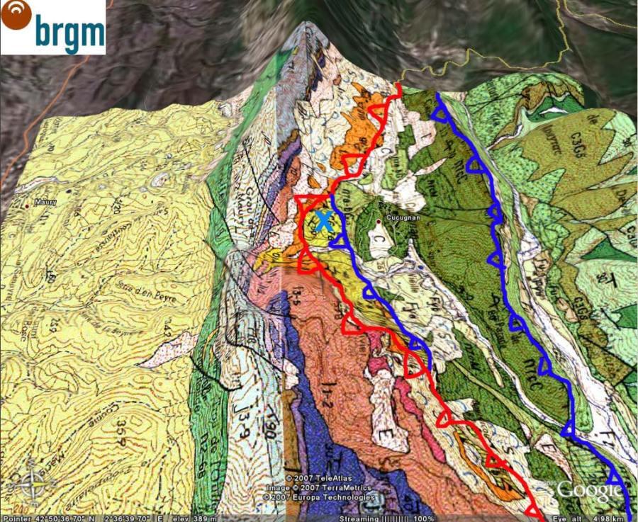 Carte géologique interprétée du même secteur, Cucugnan (11)