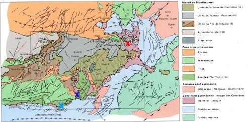 Schéma structural de la nappe des Corbières (extrait de la carte BRGM de Tuchan au 1/50 000)
