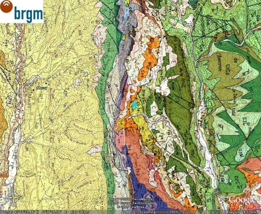 Carte géologique avec la même échelle et la même orientation que l'image précédente, obtenue avec le lien BRGM de Google Earth, Cucugnan (11)