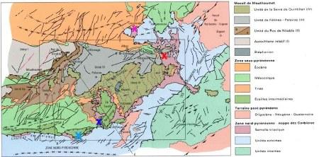 Schéma structural de la région du Chevauchement Frontal Nord Pyrénéen / Nappe des Corbières (BRGM)