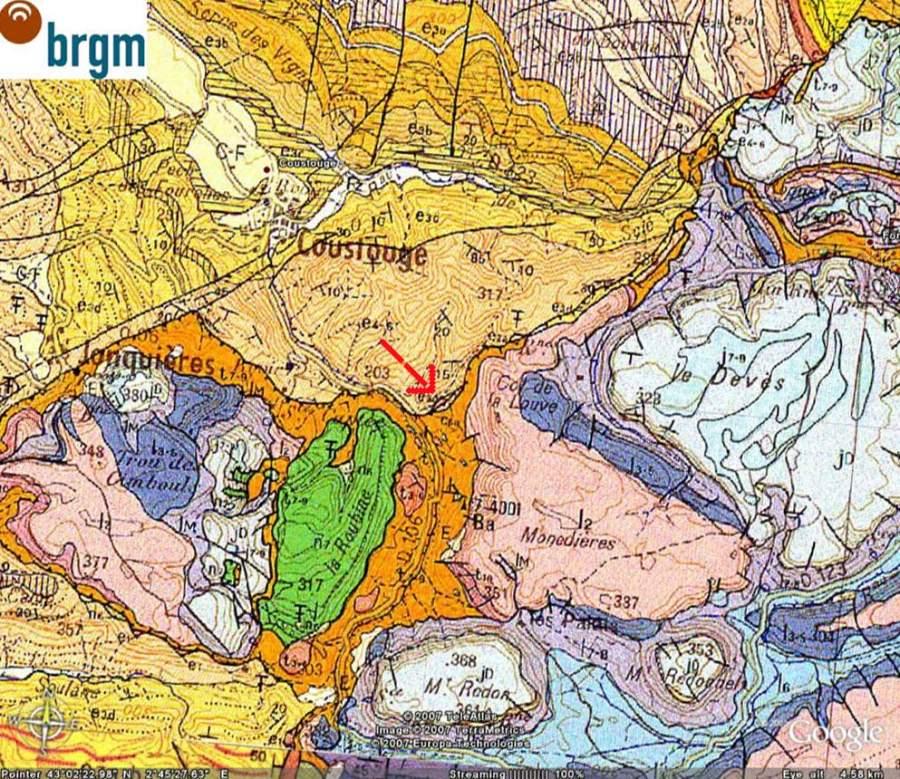 Extrait de la carte géologique de Capendu montrant la position de l'affleurement
