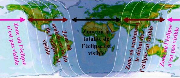 Carte de la visibilité de l'éclipse de Lune des 3-4 mars 2007