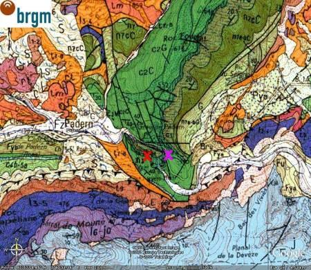 Carte géologique de la région de Padern (carte de Tuchan)
