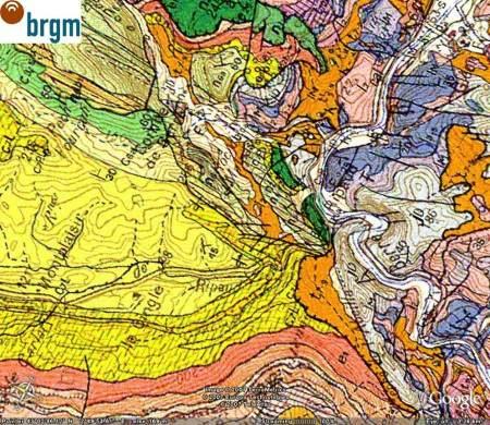 Extrait de la carte géologique de Capendu au 1/50 000 (BRGM)