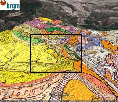 Vue oblique de l'extrait de la carte géologique de Capendu