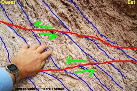 Interprétation tectonique de l'image précédente, nappe des Corbières