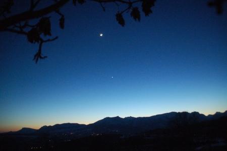 La Lune et Vénus le 20 février 2007, 24h après la conjonction