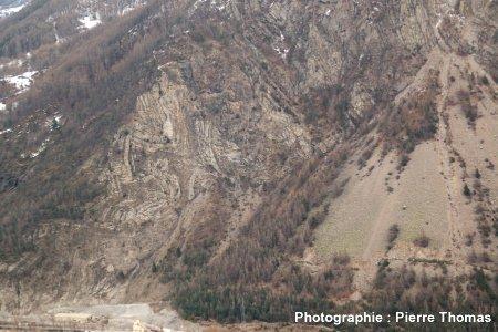 Zoom sur les plis décamétriques de la gauche (NE) du cône d'éboulis, pli de St Clément