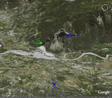 Image Google Earth de la montagne de St Clément