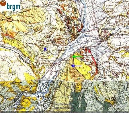 Carte géologique «classique» du site du pli de St Clément