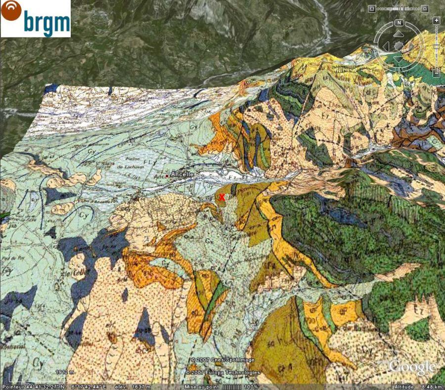 Extrait en vue oblique de la carte géologique de Chorges (BRGM)