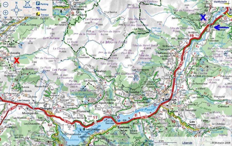 Localisation de l'affleurement d'Ancelle (croix rouge), au NO du lac de Serre Ponçon