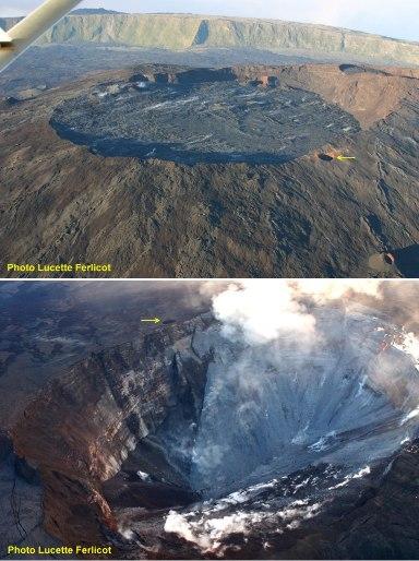 Le cratère Dolomieu (caldeira sommitale du Piton de la Fournaise, île de La Réunion) avant et après l'effondrement du 6-7 avril 2007