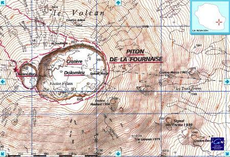 Carte topographique (IGN) du Dolomieu, avant l'éruption d'avril 2007