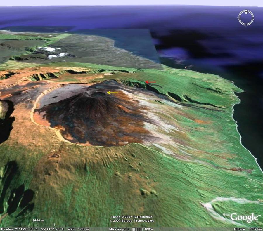 Image Google Earth du secteur du Piton de la Fournaise