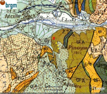 Extrait de la carte géologique de Chorges ; localisation la faille inverse d'Ancelle (nappe des flyshs à helminthoïdes)