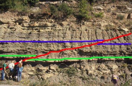 Vue générale de la faille inverse A dans les terrains triasiques de la région de Lodève (34), interprétation