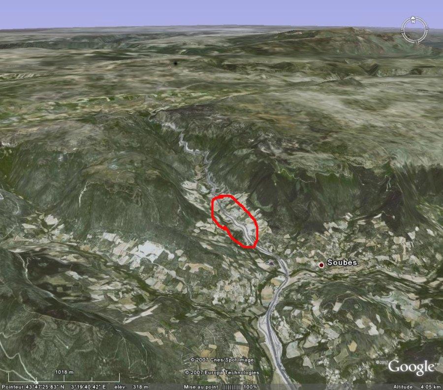 Localisation Google Earth de la région de l'affleurement (Lodève, 34)