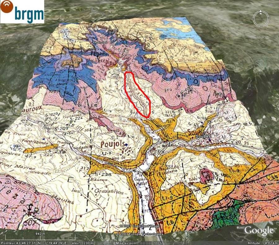 Carte géologique 3D montrant le cadre géologique de l'affleurement (Lodève, 34)