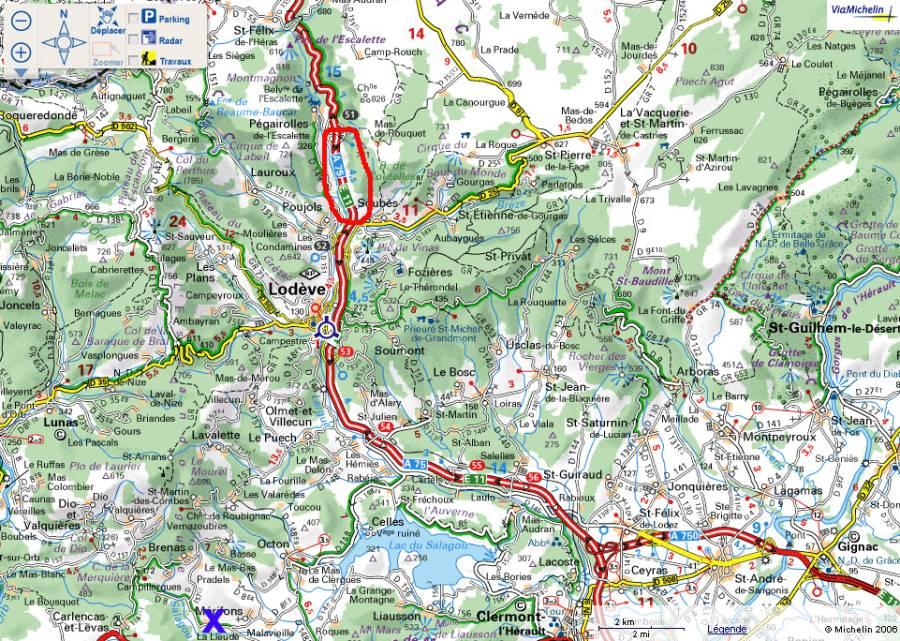 Localisation du secteur géographique où se trouvait l'affleurement (Lodève, 34)