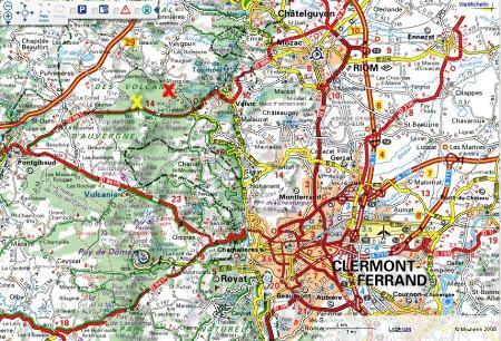 Localisation de la carrière du Puy de la Nugère (Puy de Dôme)
