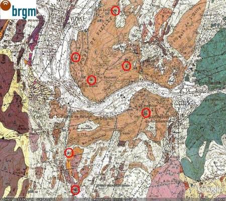 Les mines abandonnées signalées sur la carte géologique des environs de Vizille (Isère)