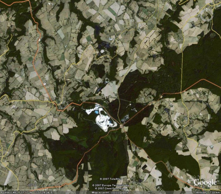 Photographie satellitale du secteur d'Échassières (Allier)