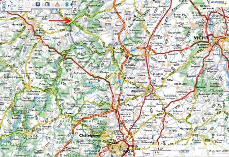 Carte routière localisant la carrière de la Bosse, Échassières (Allier)