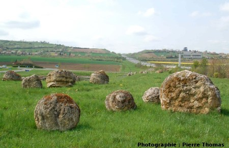 Aménagement paysager à base de stromatolithes à l'entrée de l'autoroute, Gannat (Allier)