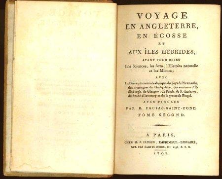 Le livre de Barthélémy Faujas-Saint-Fond, mentionnant, entre autres, la grotte de Fingal